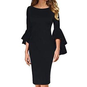 Women's Ruffle Bell Sleeve Black Bodycon Dress